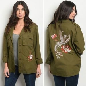 Olive Military Jacket with Embroidery Detail